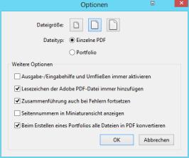 Optionen für das Zusammenführen von Dateien in Acrobat